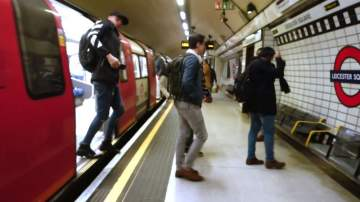 Yeno team on the underground heading for lunch at Leicester Square