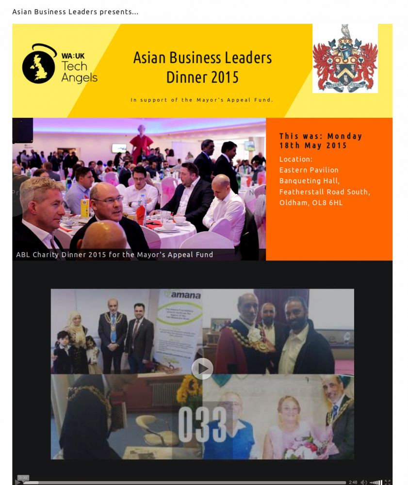 Website for Asian Business Leaders Charity Dinner for the Mayor's Appeal 2015